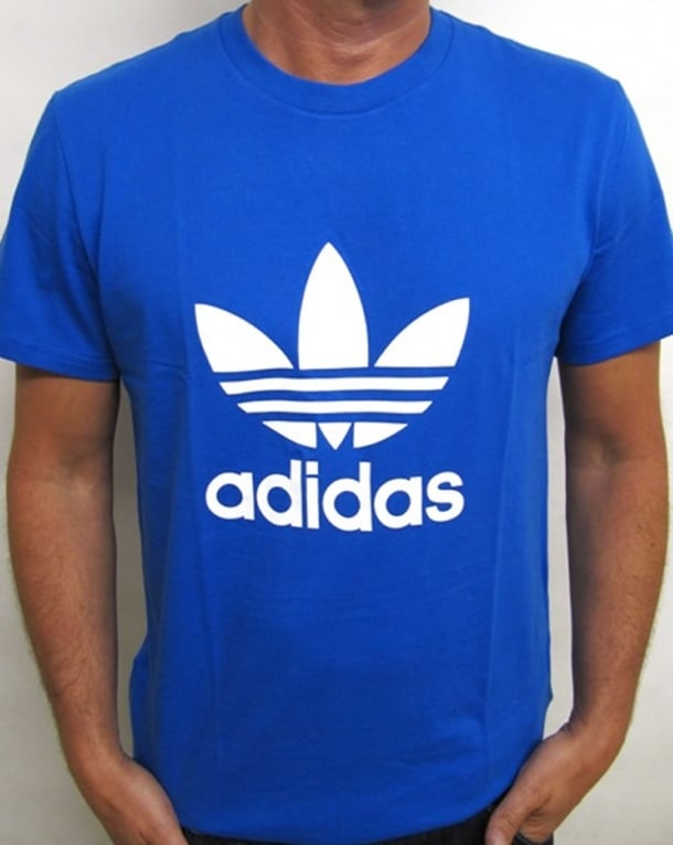 Adidas Originals Trefoil T Shirt With Large Logo Bluebird