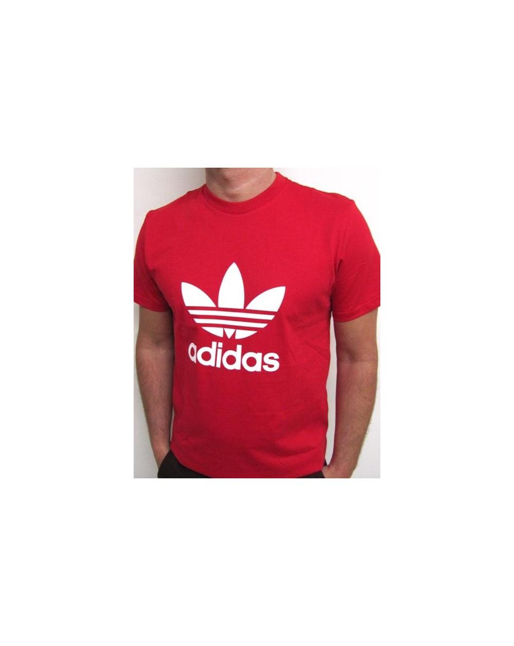 Adidas originals trefoil t shirt with large logo red 0 for Adidas trefoil t shirt