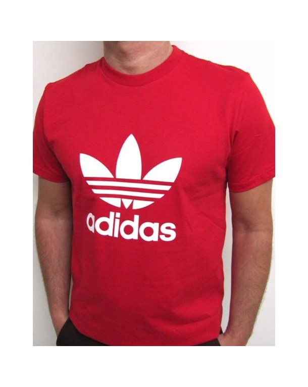 Adidas Originals Trefoil T Shirt With Large Logo Red 0