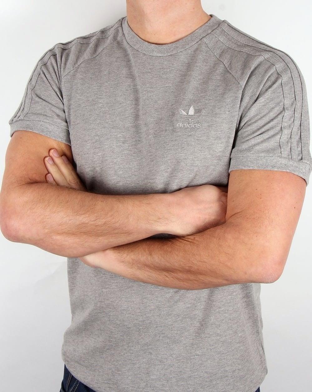 132f65de316 adidas Originals Adidas Originals Triple Stripe T Shirt Grey Heather