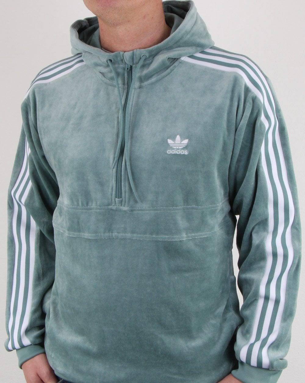2ee6bc8d0dc adidas Originals Adidas Originals Velour Half Zip Hoody Vapour Green