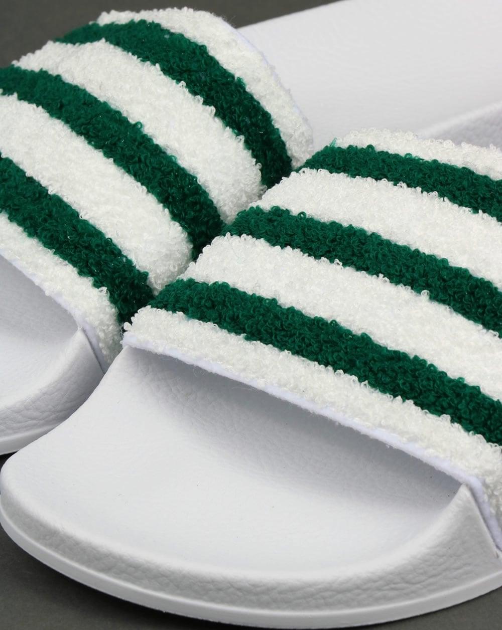 6ed766bd49e5b2 Adidas Premium Towelling Sliders White Green