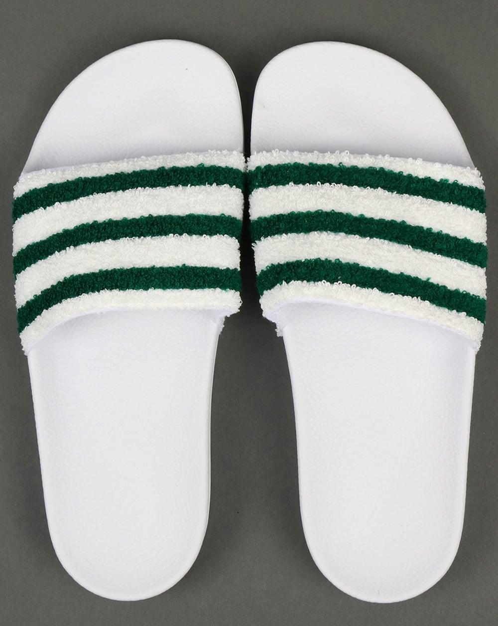 4c5ffdb8dc39 Adidas Premium Towelling Sliders White Green