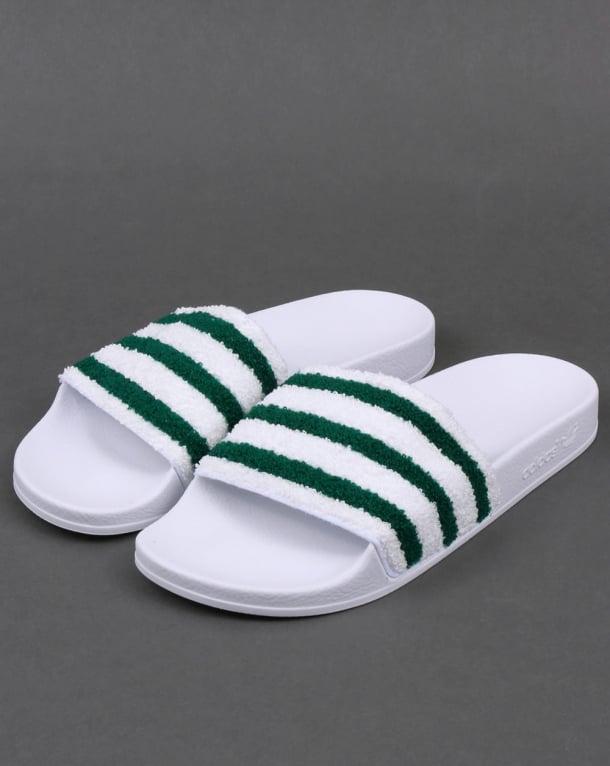 Adidas Premium Towelling Slides White/Green