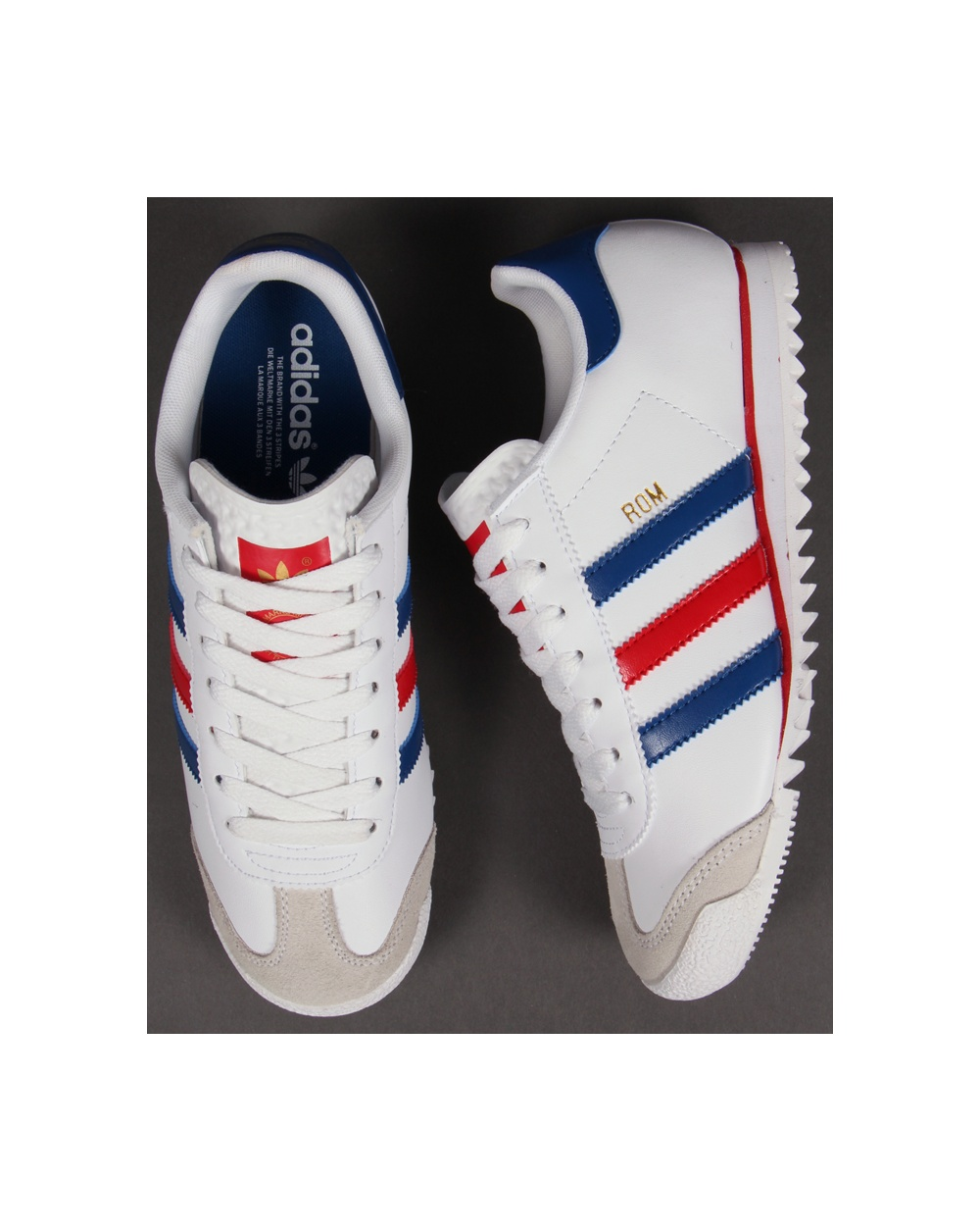 best service 2e32d 36330 Adidas Rom Trainers Whiteredblue
