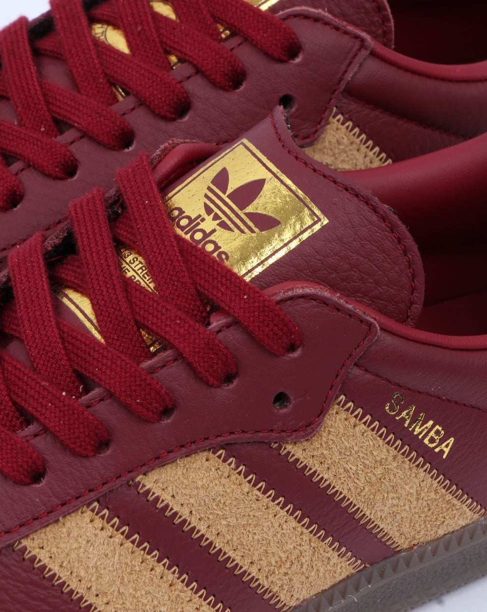 Descortés fuente Sarabo árabe  Adidas Samba Og Ft Trainers Burgundy/Gold - 80s Casual Classics