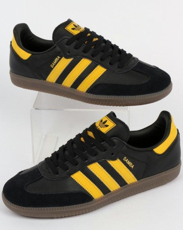 Adidas Samba Og Trainers Black Bold Gold Leather Shoes Super