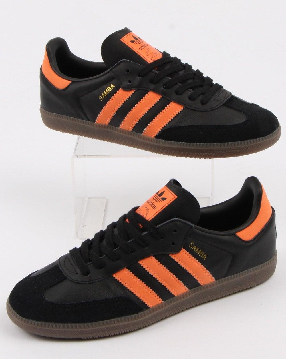 f9efc2e77 Adidas Samba, Black, Og Trainers, Orange,Mens, Leather, Originals