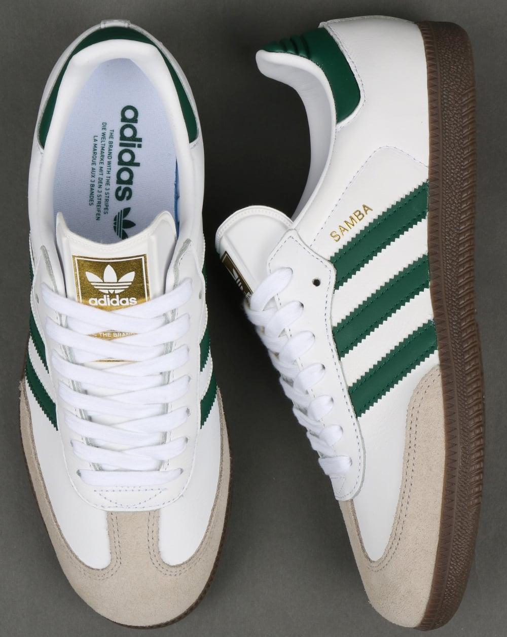 Adidas Samba Og Trainers White Green Leather Shoes Super