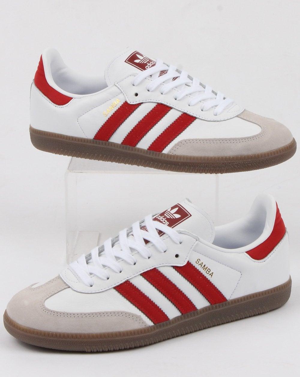 adidas samba white red Shop Clothing
