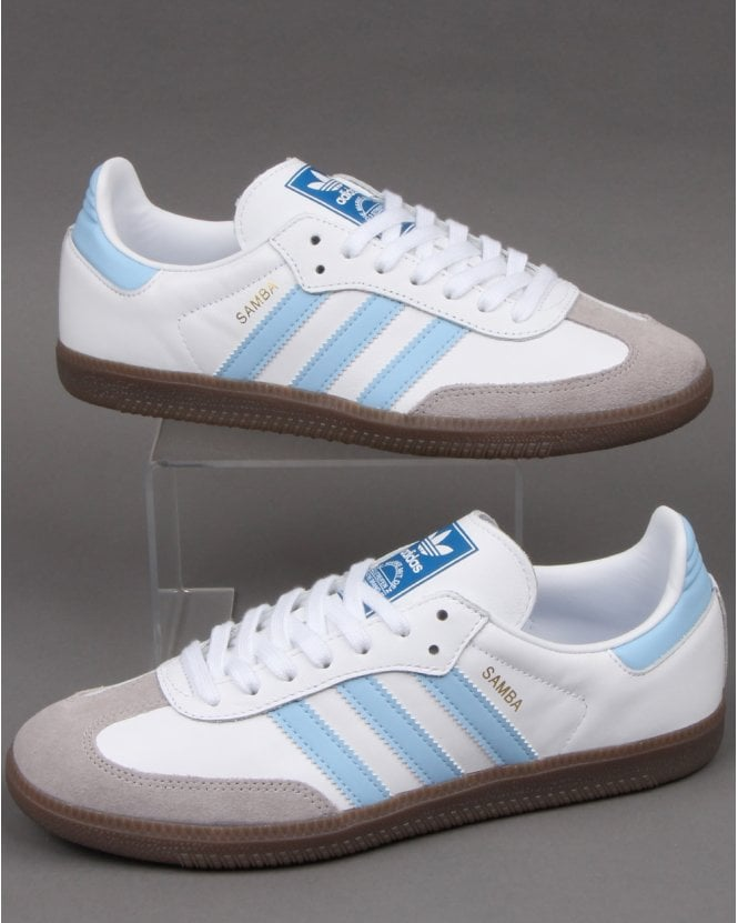 Adidas Samba Og Trainers White/Sky Blue