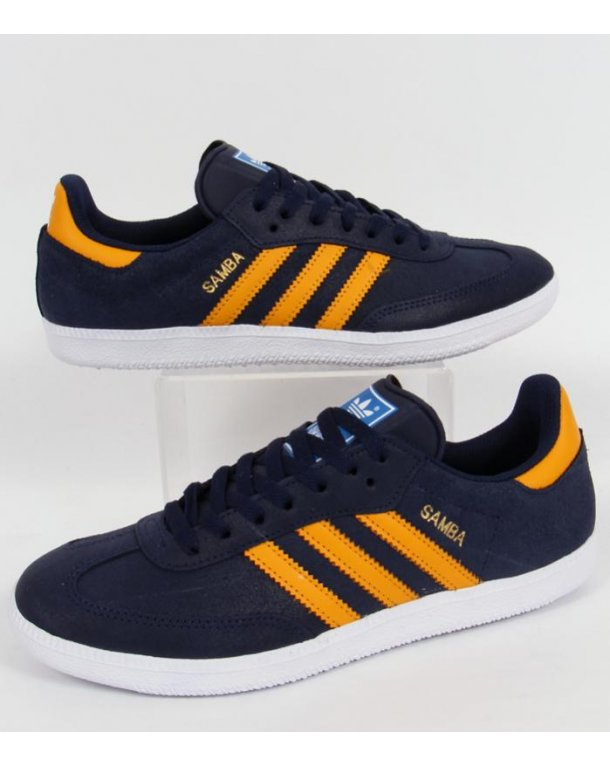 outlet store 3c529 26fb0 ... italy adidas samba trainers navy gold 88fba 2a3ba