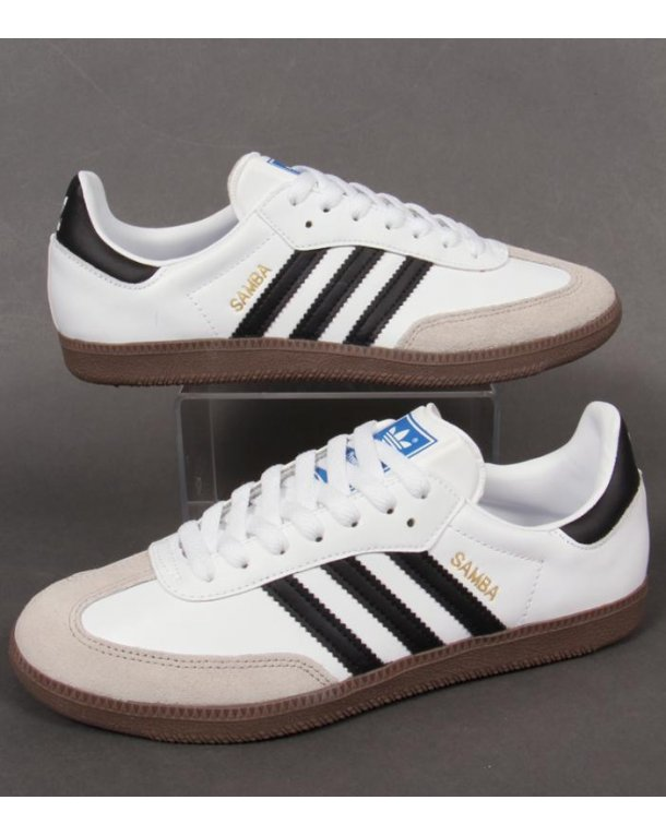 adidas samba trainers - black leather/white/gum sole