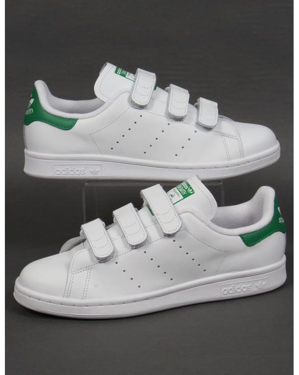 adidas stan smith velcro white green