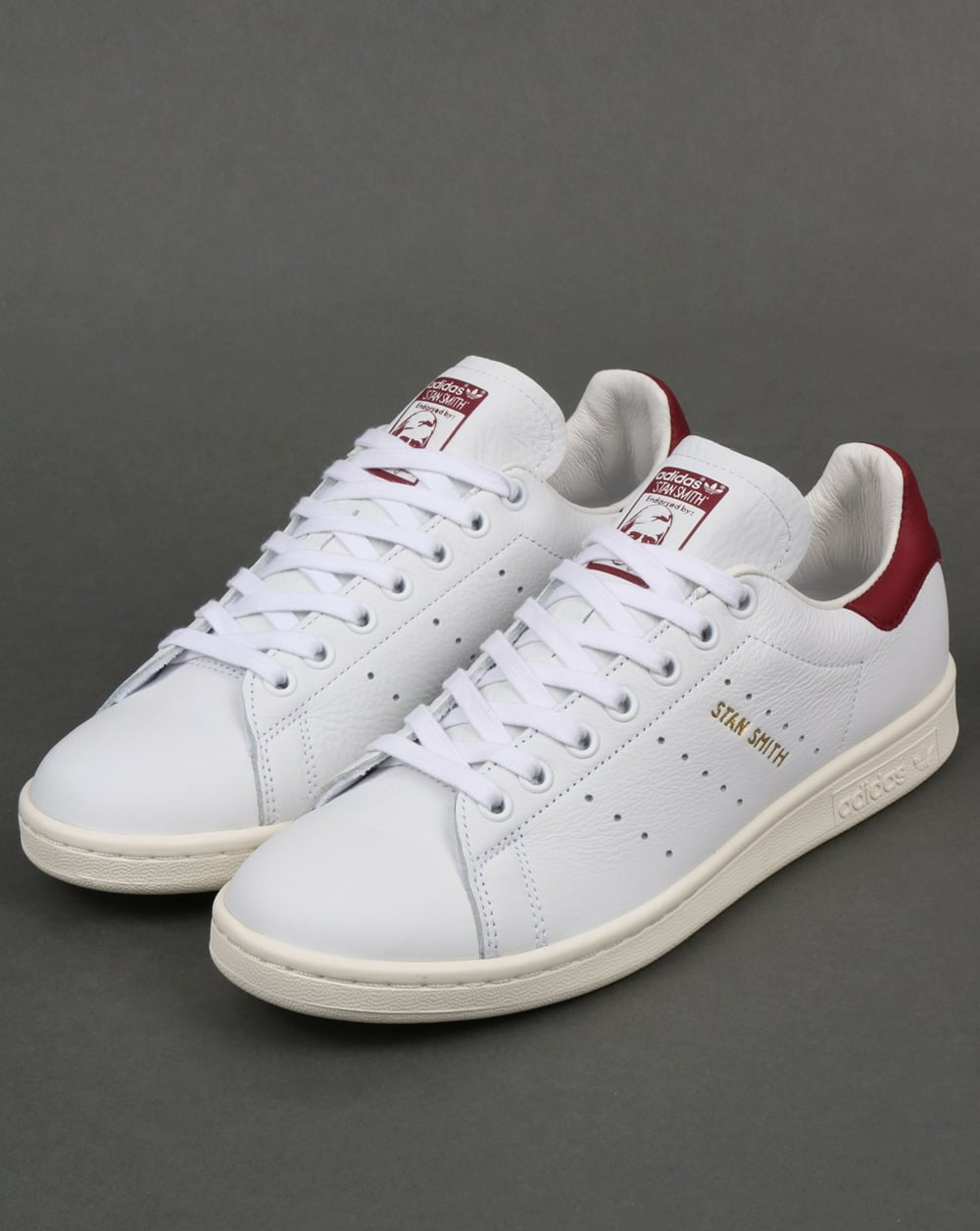 promo code 74a55 c7bd3 Adidas Stan Smith Trainers White/Burgundy
