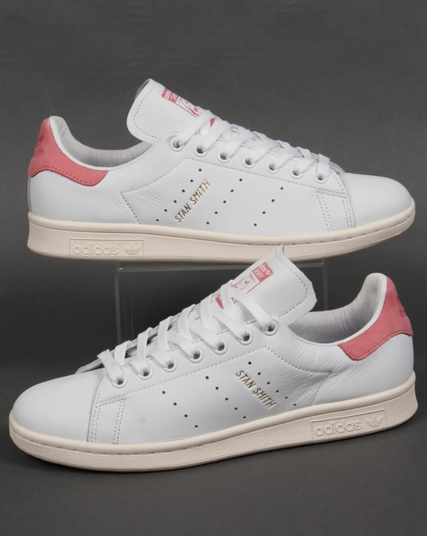 adidas originals white and pink stan smith trainers