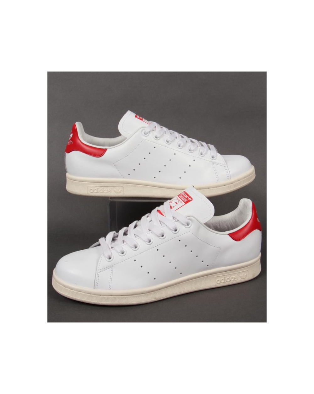 adidas originals white and red stan smith trainers