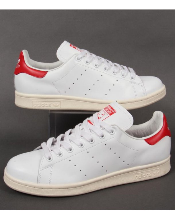 reputable site d6d88 5e26c stan smith white and red