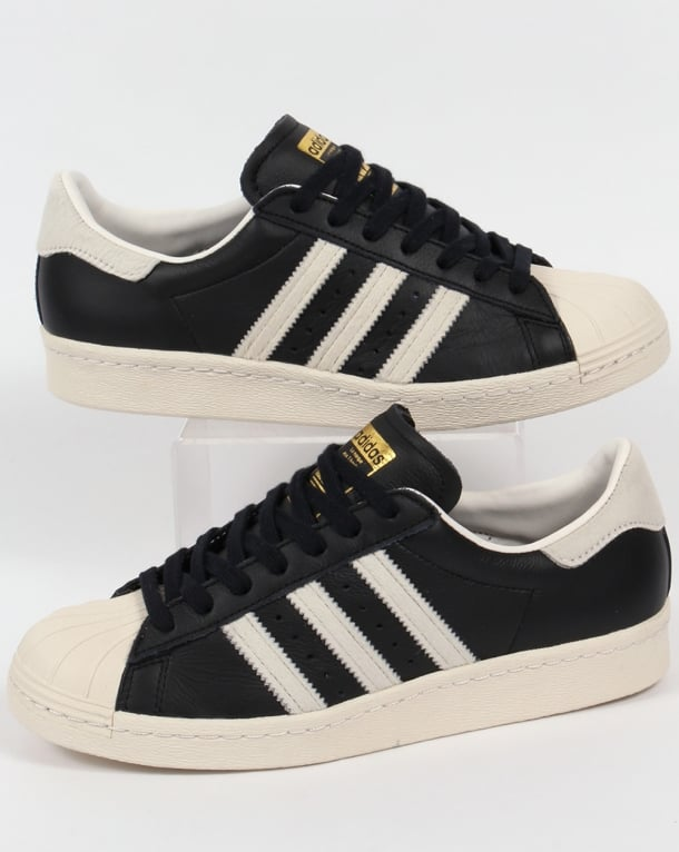 Adidas Superstar 80s Trainers Black/White/Gold