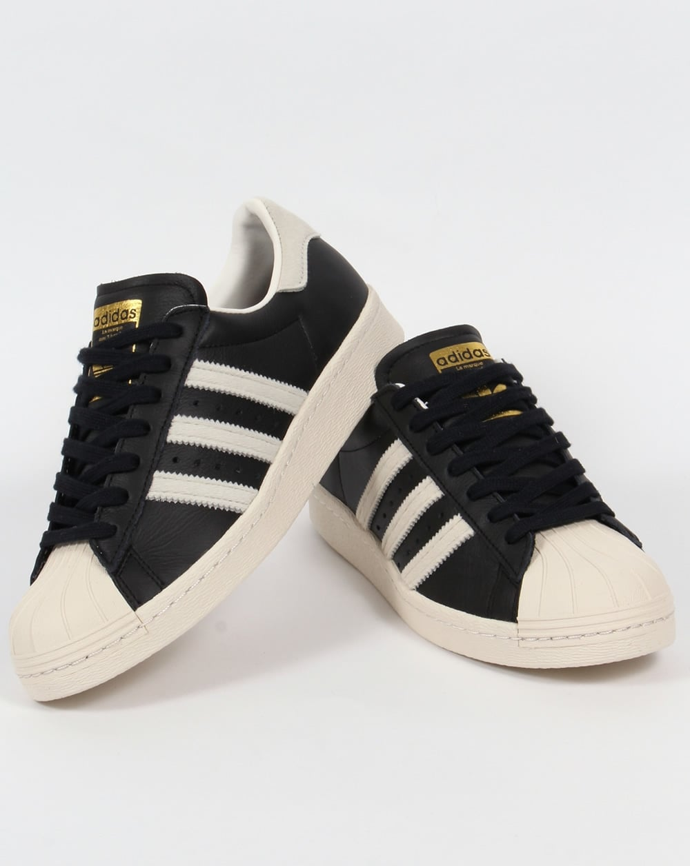 012ab8b7664 Adidas Superstar 80s Trainers Black White Gold
