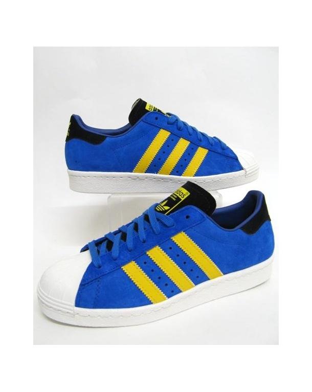save off 0b5a4 05572 ... hot adidas superstar 80s trainers bluebird blue yellow 414d8 8fb8a