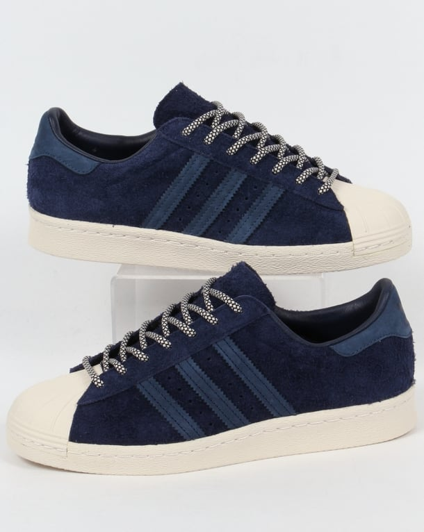 Adidas Superstar 80s Trainers Navy/Mineral Blue/White