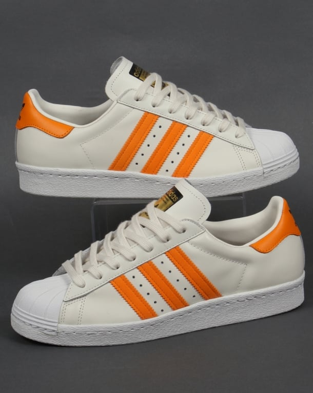Adidas Superstar 80s Trainers Off White/Orange