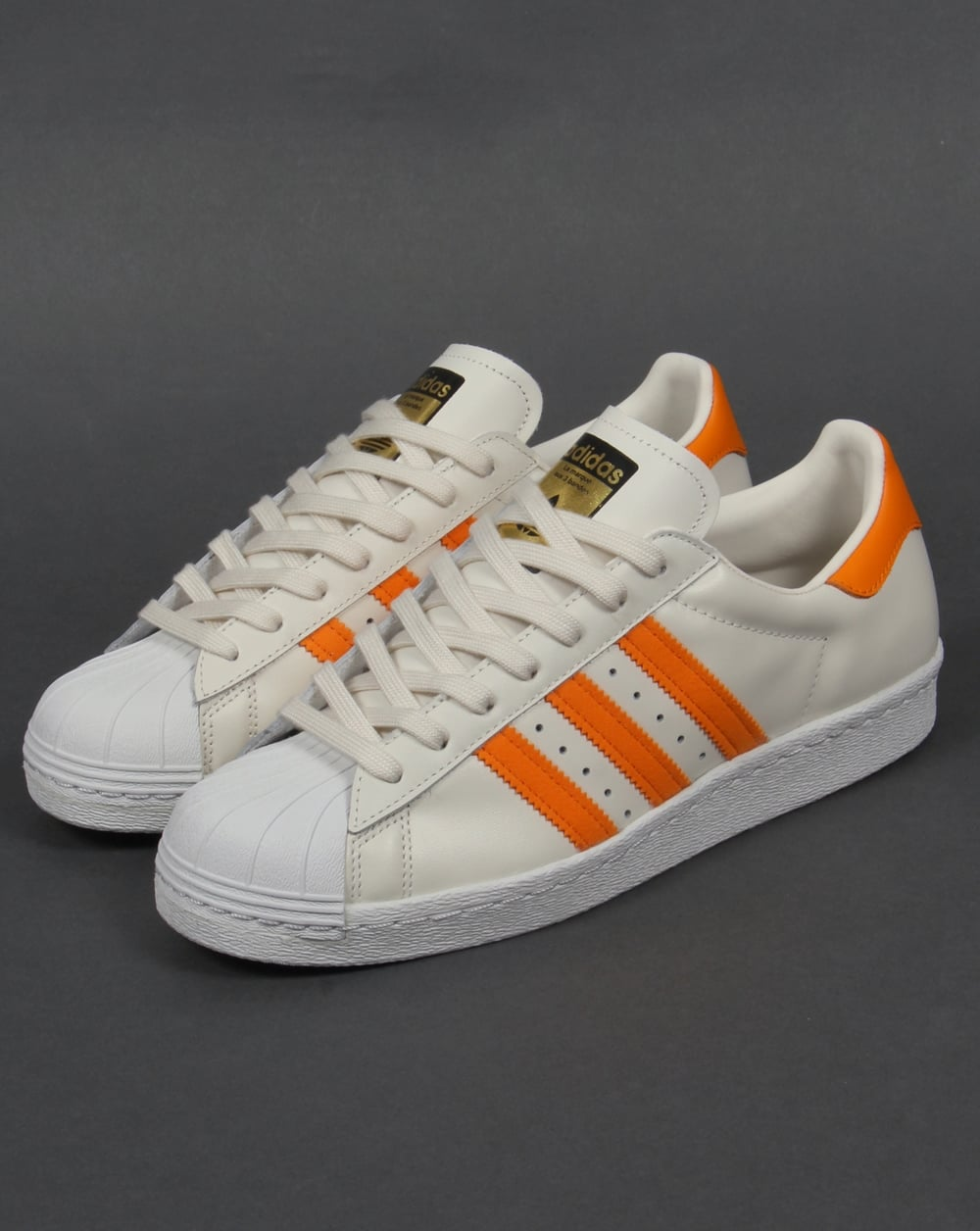 adidas superstar 80s trainers off white orange originals shell toe shoe. Black Bedroom Furniture Sets. Home Design Ideas