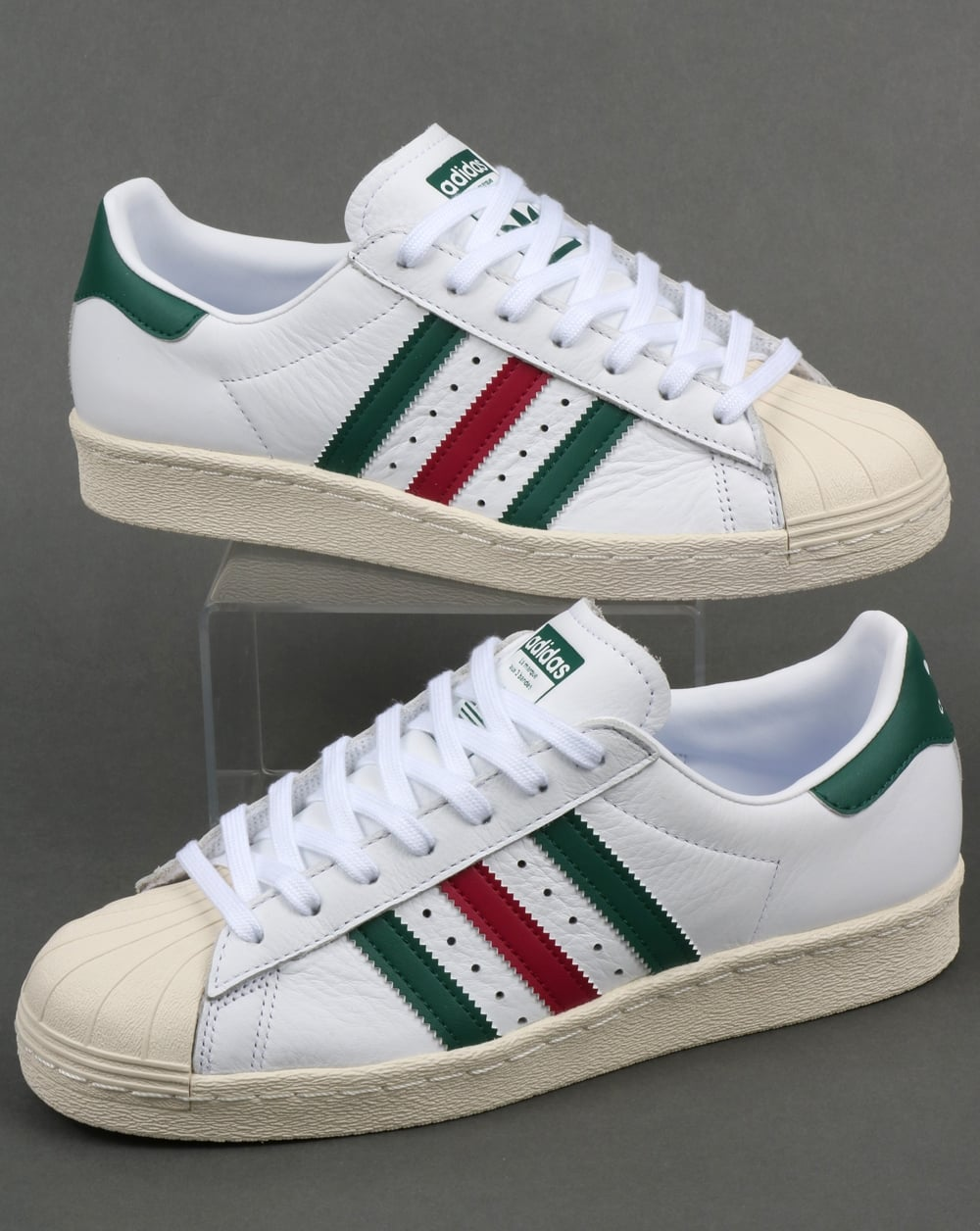 wholesale dealer 092e7 f11b7 Adidas Superstar 80s Trainers White/Green/Ruby