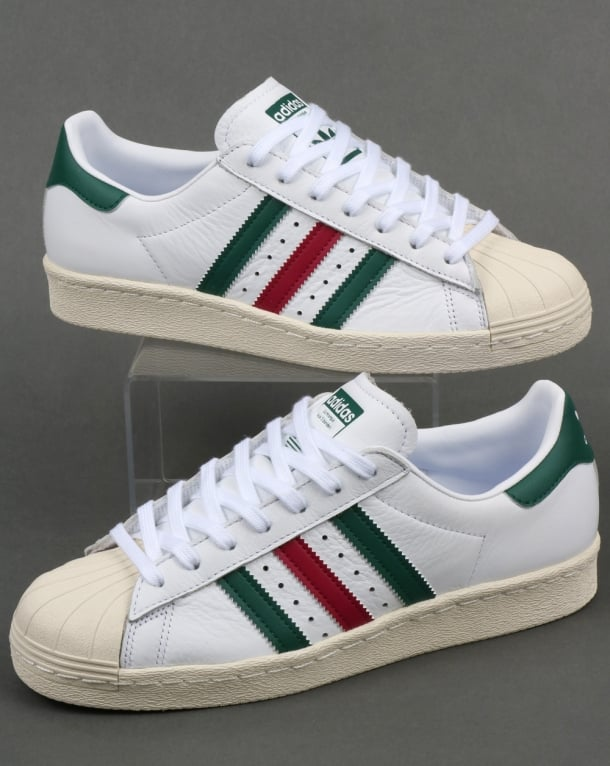 Adidas Superstar 80s Trainers White/Green/Ruby