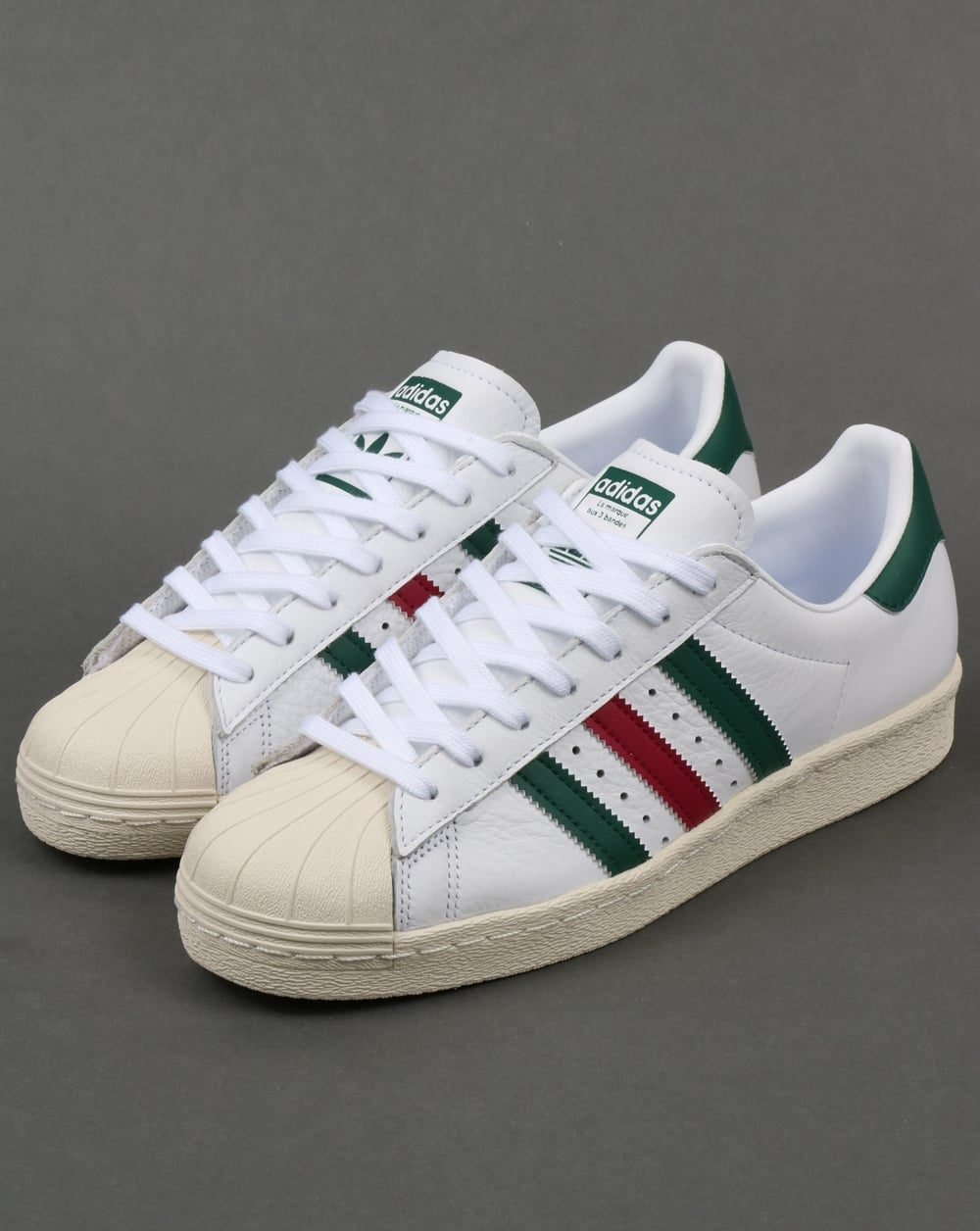 d9efce08dbbf46 Adidas Superstar 80s Trainers White Green Ruby