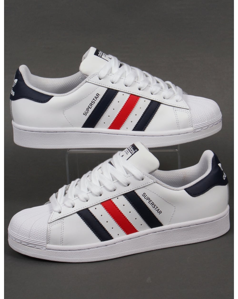 meet 1505d 25529 adidas Trainers Adidas Superstar Foundation Trainers White Red Navy