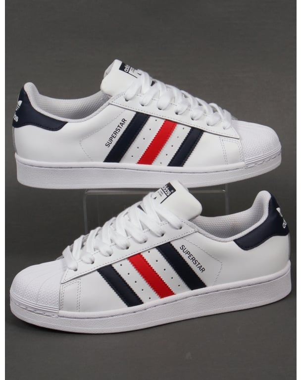 4152d63604c4 Adidas Superstar Foundation Trainers White Red Navy - Trainers from ...