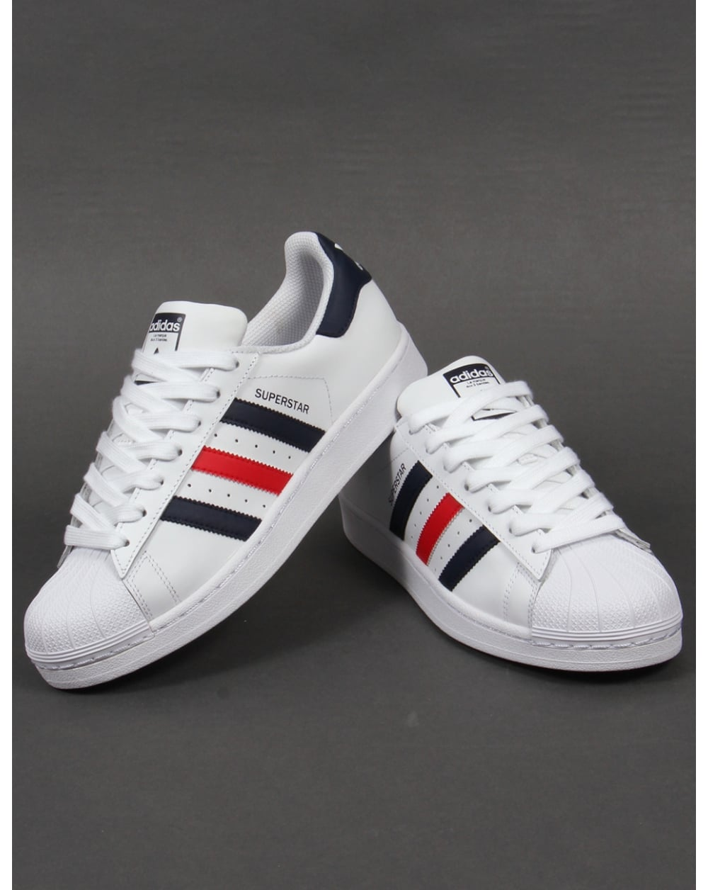 adidas superstars with navy stripes
