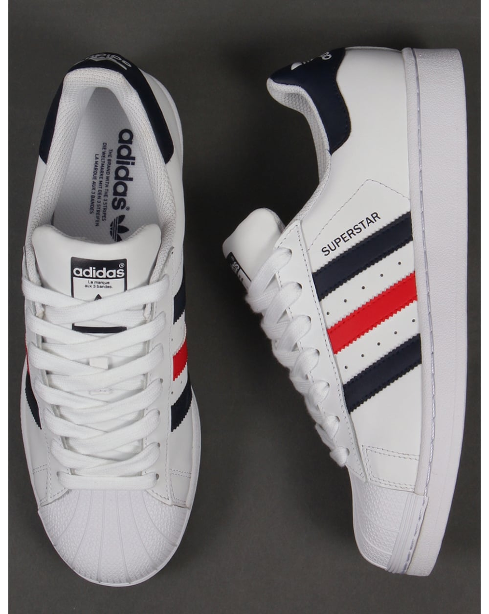sports shoes aec93 8da03 Adidas Superstar Foundation Trainers White/Red/Navy