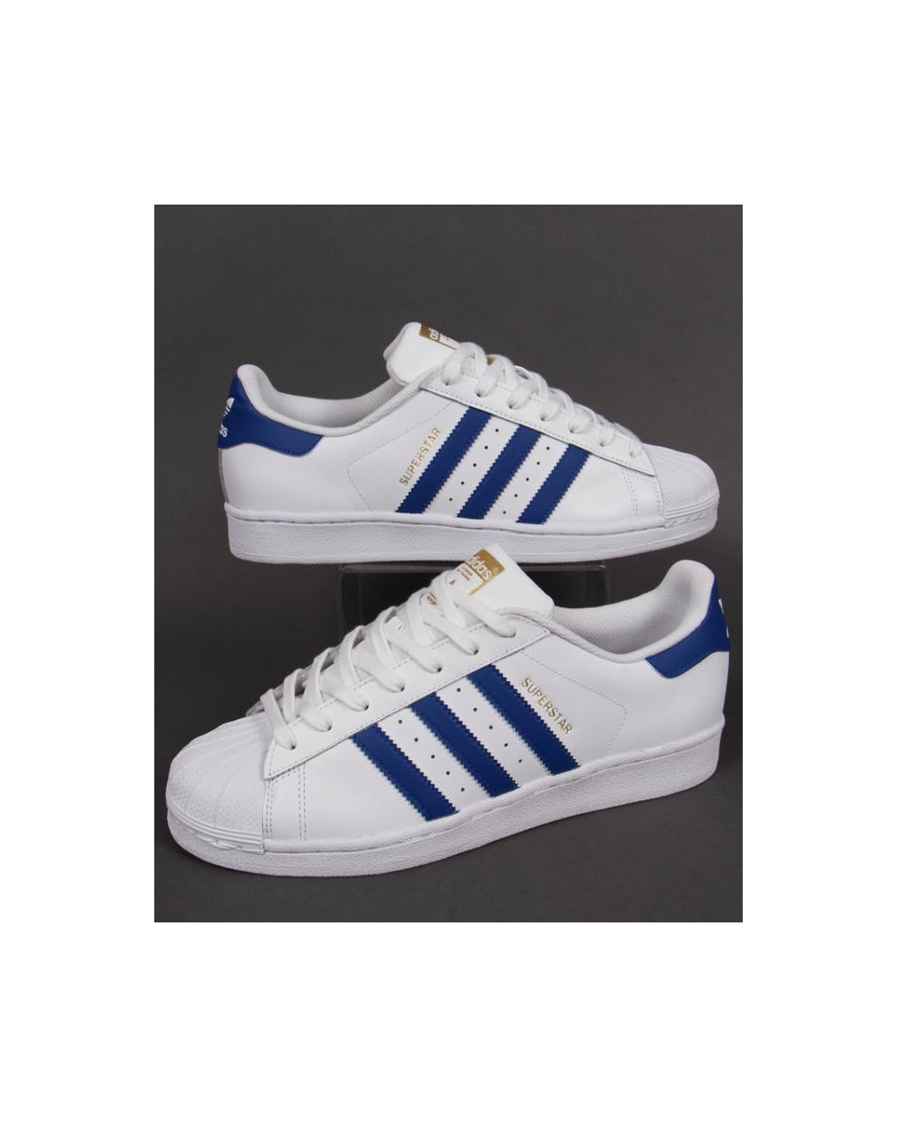 e3d8bd059932 Adidas Superstar Foundation Trainers White royal Blue