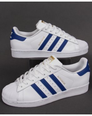 Adidas Trainers Adidas Superstar Foundation Trainers White/royal Blue
