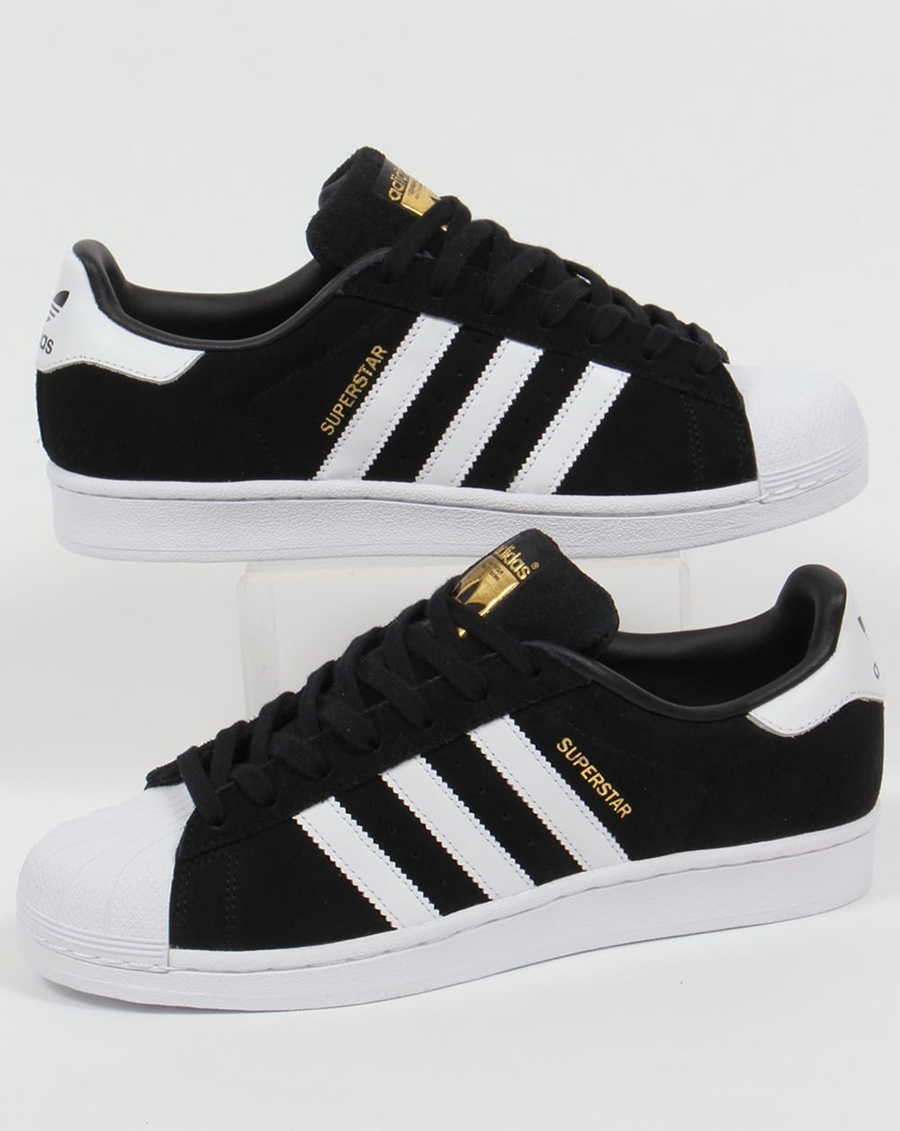 7e0b15d0456e7 Adidas Superstar Suede Trainers Black/white