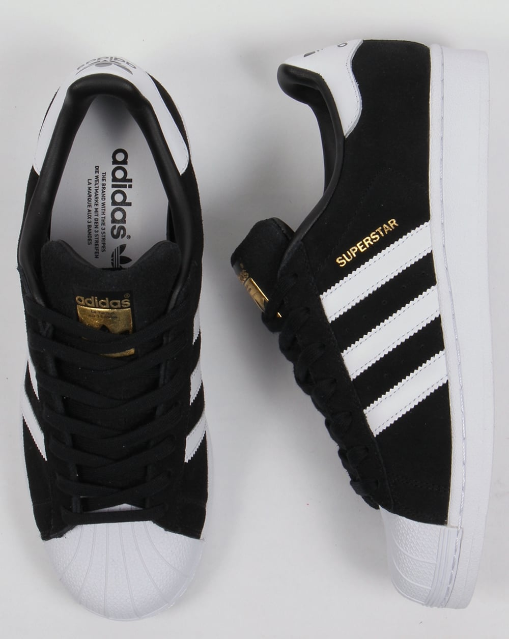 adidas superstar black with white shell toe