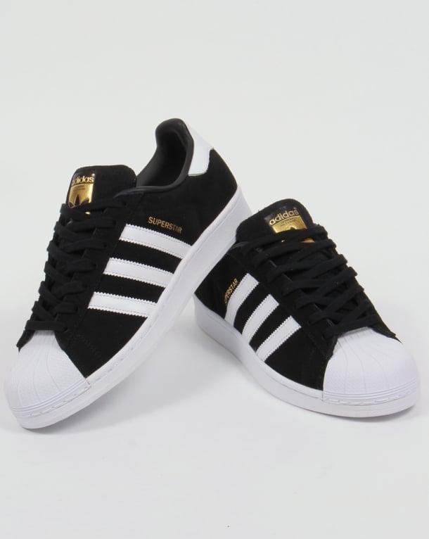 adidas superstar black with white stripes