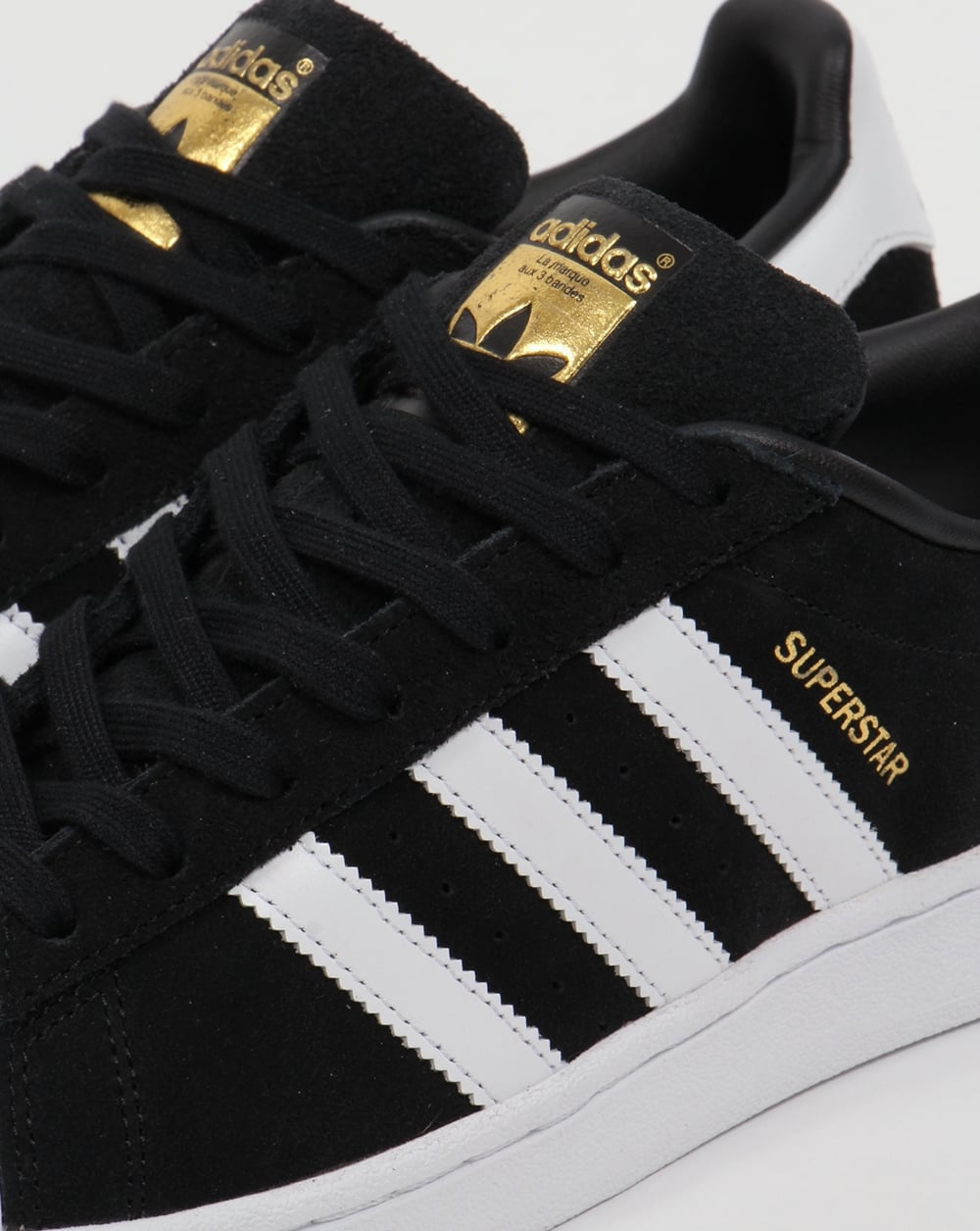 e7a496a16ae Adidas Superstar Suede Trainers Black White