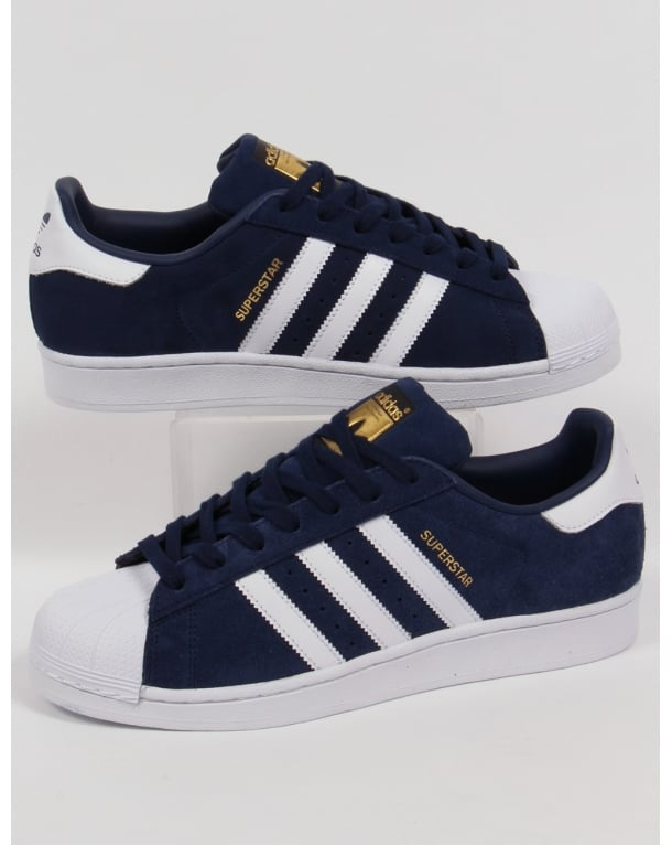 Adidas Superstar Suede Trainers Navy/white