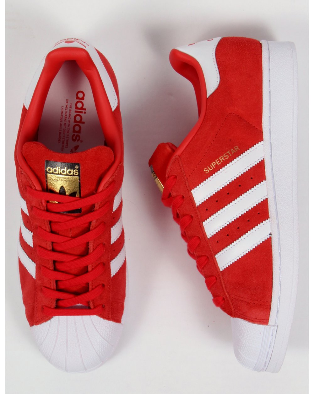 adidas originals superstar suede shell wit rood