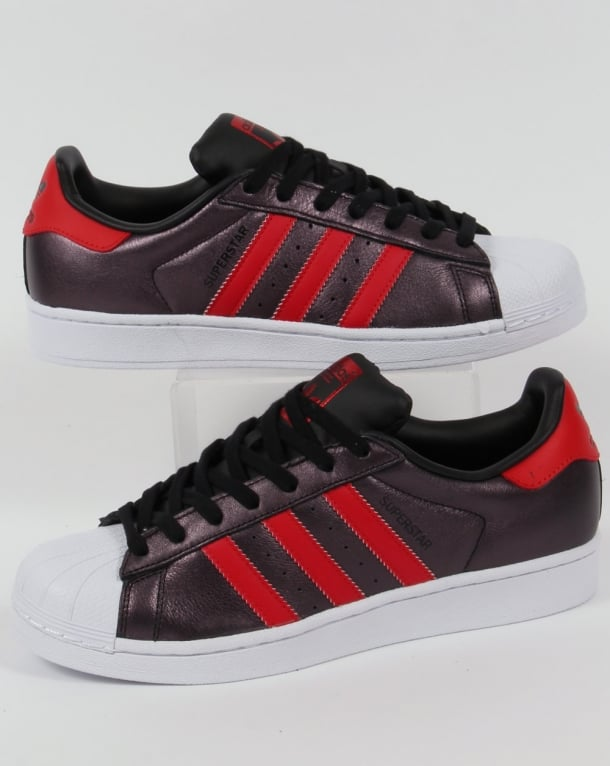 Adidas Superstar Trainers Black/Red
