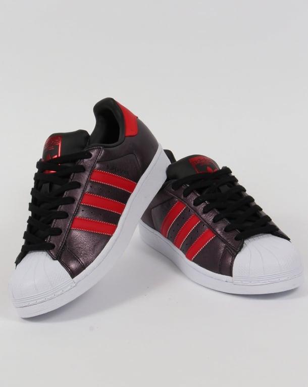 adidas superstar black red