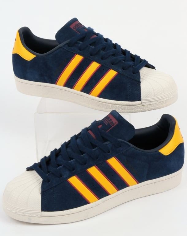 Adidas Superstar Trainers Navy/Yellow/Red