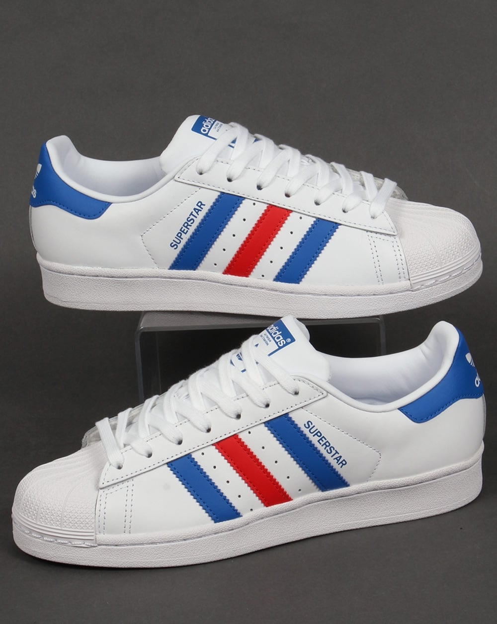 d2611aace4b1a Adidas Superstar Trainers White/Blue/Red