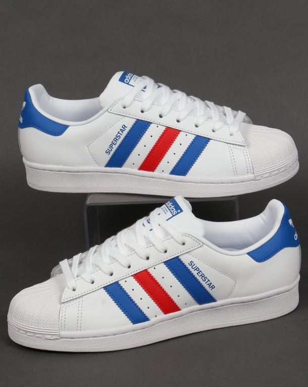 Men S Adidas Superstar Foundation Casual Shoes White Navy On Feet