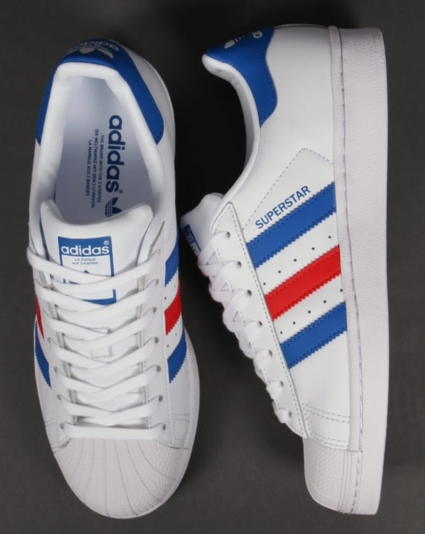 58f22fc45081 Adidas Superstar Trainers White Blue Red