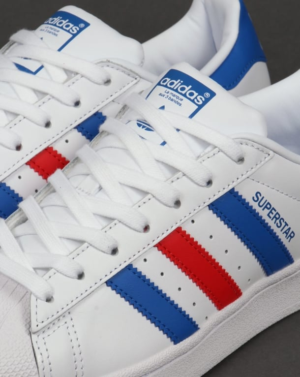 adidas superstar blue and red